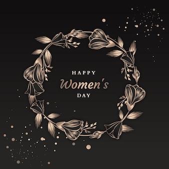 Dark design with flowers for women day