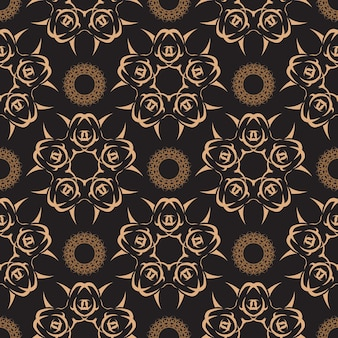 Dark dewy seamless pattern with vintage ornaments. indian floral element. graphic ornament for wallpaper, fabric, packaging, wrapping.