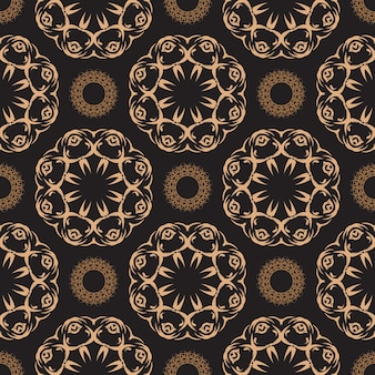 Dark dewy seamless pattern with vintage ornaments. wallpaper in a vintage style pattern. indian floral element. ornament for wallpaper, fabric, packaging, packaging.