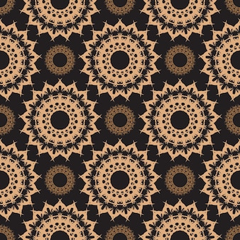 Dark dewy seamless pattern with vintage ornaments. wallpaper in a vintage style pattern. indian floral element. ornament for wallpaper, fabric, packaging and paper. simple style, vector illustration.
