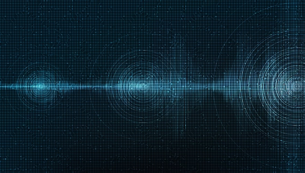 Dark digital sound wave on blue background,technology and earthquake wave diagram concept
