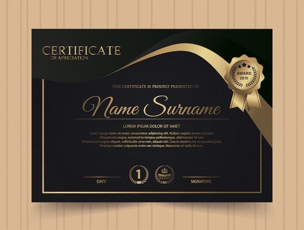 Dark diploma certificate creative design with award symbol