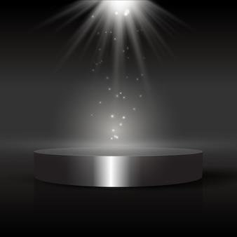 Темный фон дисплея с подиумом под прожектором