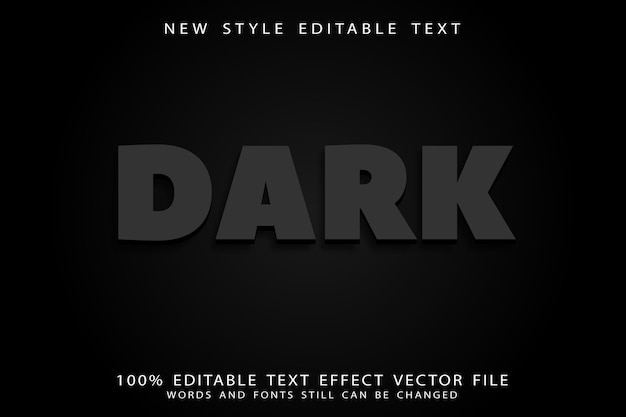 Dark editable text effect emboss modern style