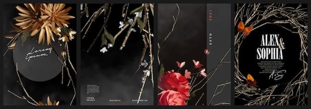 Dark elegant flower and branches cover illustration template set