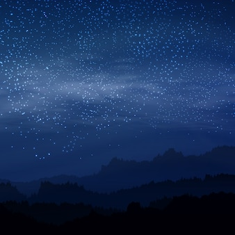 Dark elegant sky with royal stars in night royal blue color with land