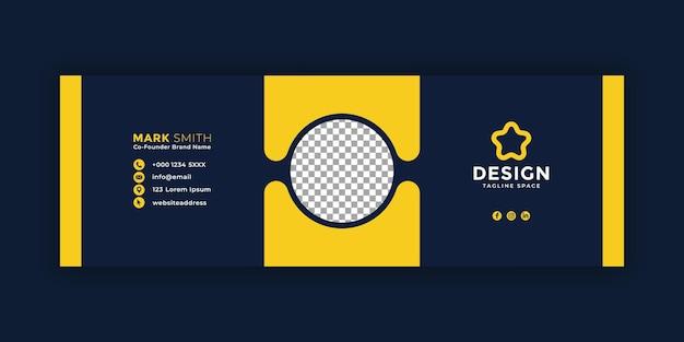 어두운 이메일 서명 템플릿 또는 이메일 바닥글 및 개인 소셜 미디어 표지 디자인