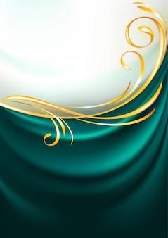 Dark emerald fabric curtain, background