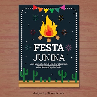 Dark festa junina cover template with bonfire