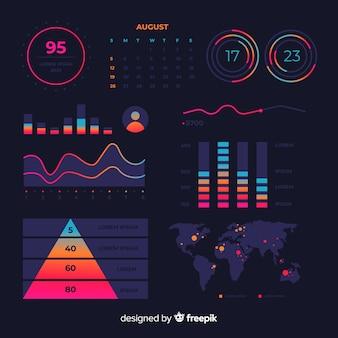 Темный плоский дизайн графического шаблона статистики