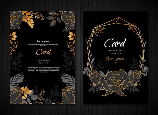 Dark floral gold wedding card template