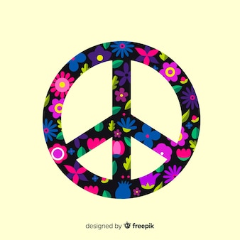 Dark floral peace sign background