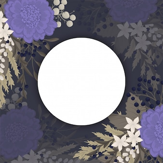 Dark flower background - blue flowers circle border