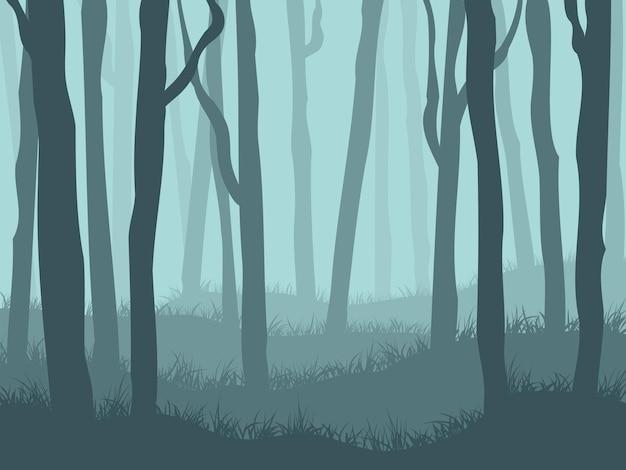 暗い霧の森の風景。抽象的なベクトルの背景