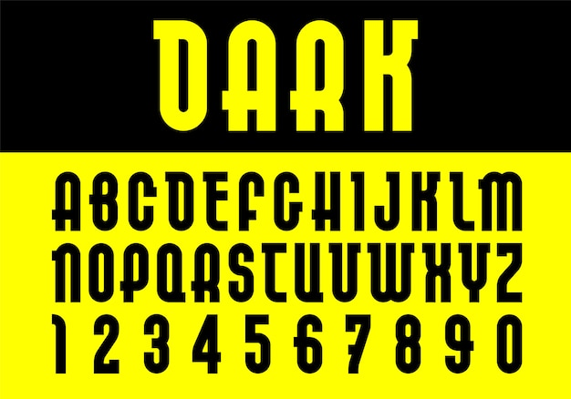 Dark font. trendy alphabet, black vector letters on a yellow background.