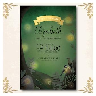 Dark forest theme invitation