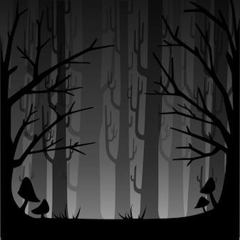 안개와 어둠의 숲. 게임 또는 웹 사이트 개념에 대한 안개가 자욱한 숲. 안개 숲. 삽화