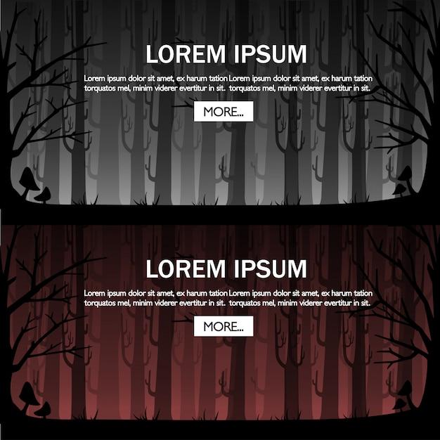 Темный лес с красным туманом. туманный лес для концепции игры или веб-сайта. туманный лес. иллюстрация с местом для текста. кнопка подробнее. страница сайта и мобильное приложение