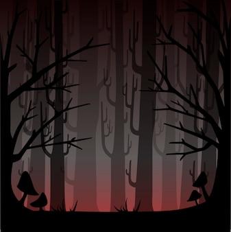 붉은 안개와 어두운 숲입니다. 게임 또는 웹 사이트 개념에 대한 안개가 자욱한 숲. 안개 숲. 삽화
