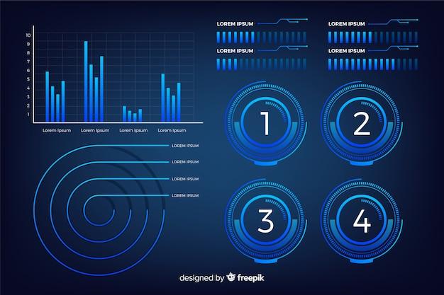 Dark futuristic infographic element collection