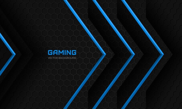 Dark gaming background with blue arrows on a dark abstract hexagonal grid
