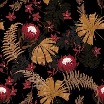 Dark garden protea floral pattern