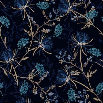 Dark garden seamless pattern vector