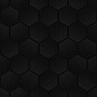 Dark geometric halftone hex seamless pattern.