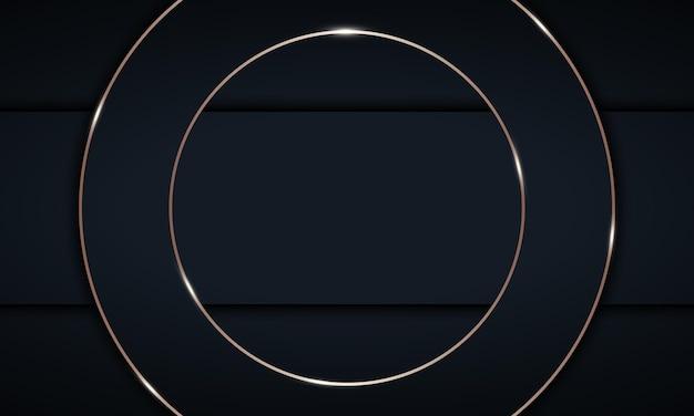 金色の線が付いた暗い幾何学的な重なり合うレイヤー。バナーのエレガントなデザイン。