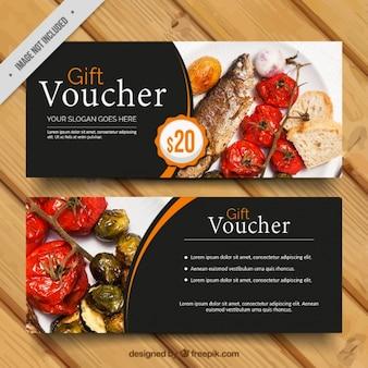 Dark gift voucher with orange details