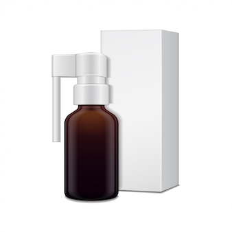Dark glass bottle with sprayer for oral spray and white cardboard box.