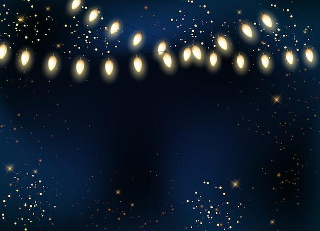 전구 파티 갈 랜드와 별 배경으로 어두운 광택 밤 하늘.