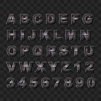 暗い光沢のあるスタイルの大文字のアルファベットと数字のコレクション