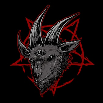 Dark goat head illustration
