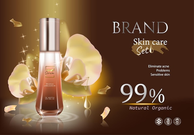 Dark gold ads bottles of essence skin care with drop water and flower cut banner vector illustration