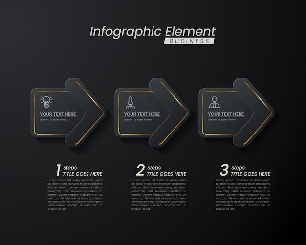 ダークゴールドエレガントなインフォグラフィック3 dテンプレートの成功のための手順。線要素アイコンを使用したプレゼンテーション。