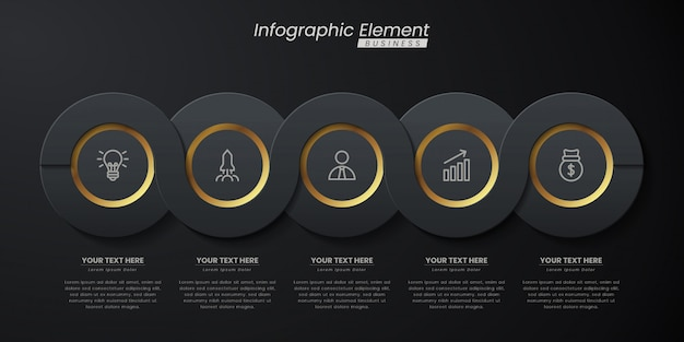 Dark gold elegant infographic 3d   template with steps for success. presentation with line elements icons.