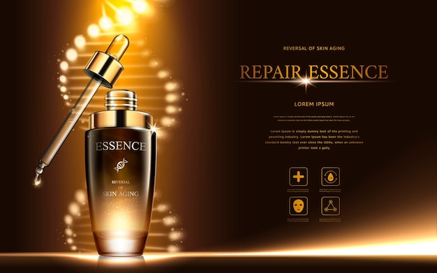 Dark gold repair essence with helical structure and droplet bottle