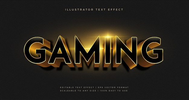 Эффект шрифта текста темной золотой игровой темы Premium векторы