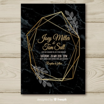 Dark golden geometric wedding invitation template