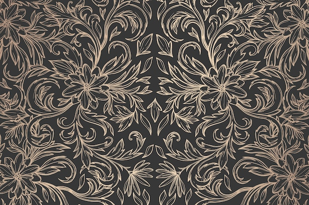 Dark golden ornamental floral background