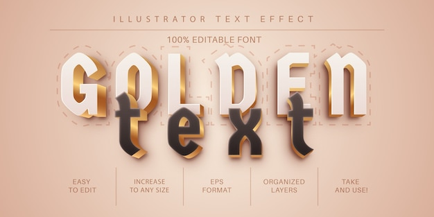 Dark golden text effect