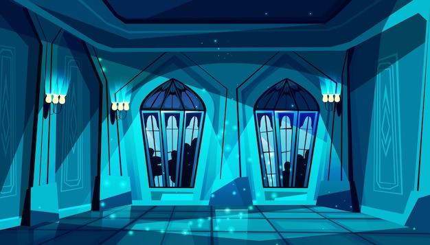 ステンドグラスの窓が付いた暗いゴシック様式の城のボールルーム。ダンス、プレゼンテーションのためのホール
