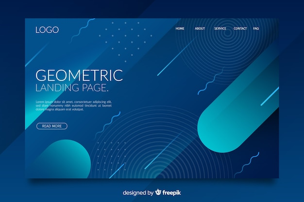 Dark gradient geometric shapes landing page