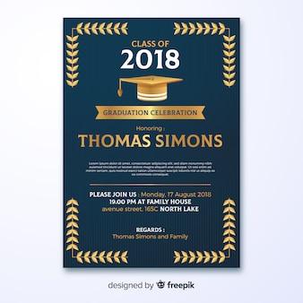 Dark graduation party invitation template