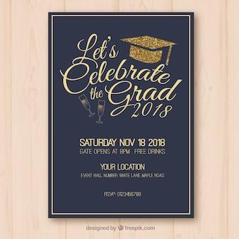 Dark graduation party invitation