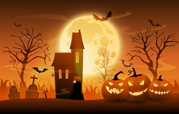 Dark graveyard with creepy pumpkins and haunted house on halloween night, cartoon ilustration