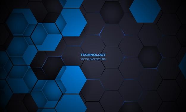 Темно-серый абстрактный гексагональный фон технологии