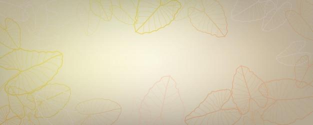 Alocasia macrorrhizos 잎 황금 라인 아트 프레임이 있는 짙은 회색 및 검정색 배경