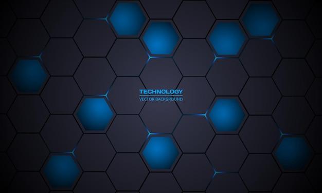 ダークグレーとブルーの六角形の抽象的な技術の背景